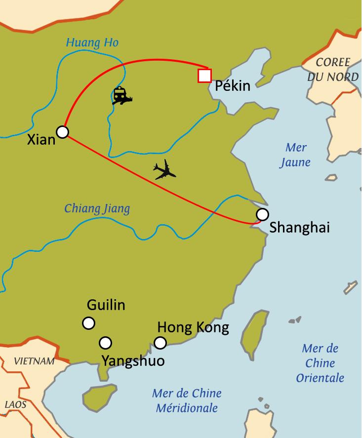 Carte Chine Voyage.Circuit Sur Mesure Escapade Chinoise En Semi Liberte