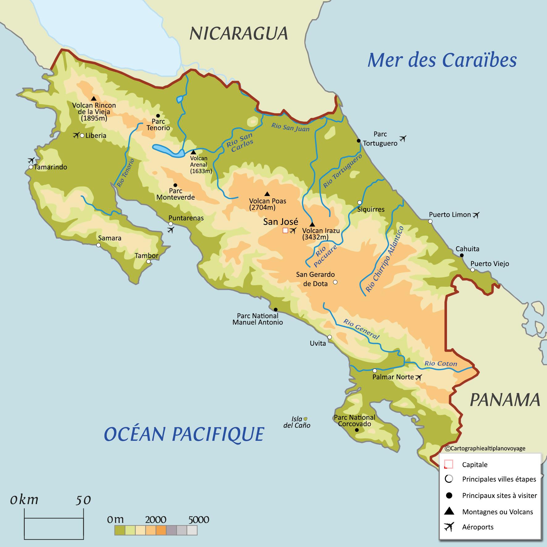 Carte Touristique Costa Rica
