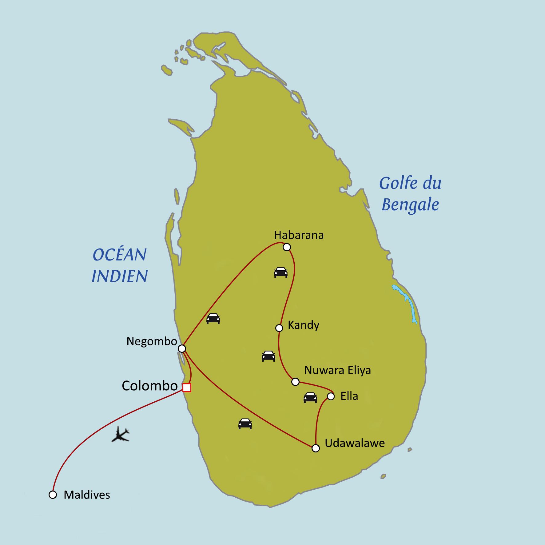 Carte Asie Maldives.Circuit Sur Mesure Sri Lanka Maldives Les Perles De L Ocean Indien